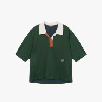 배색 카라 반소매 티셔츠 2F1J7TTO169W