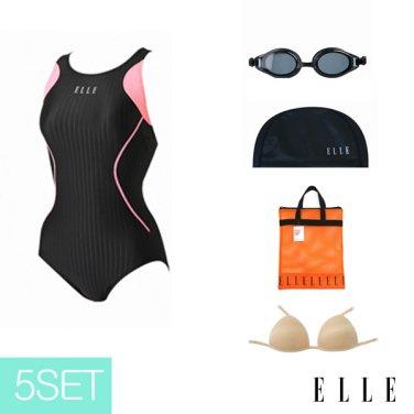 여성 실내 수영복+용품 세트 EUPSO06A100_BLK
