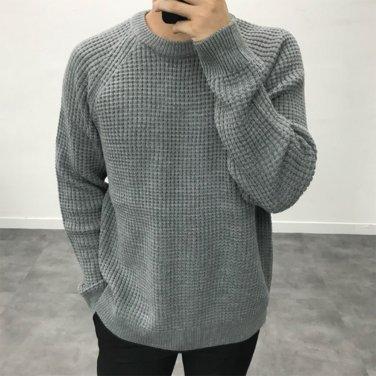 남성 데일리 와플 입체 직조 니트 티셔츠_T0415