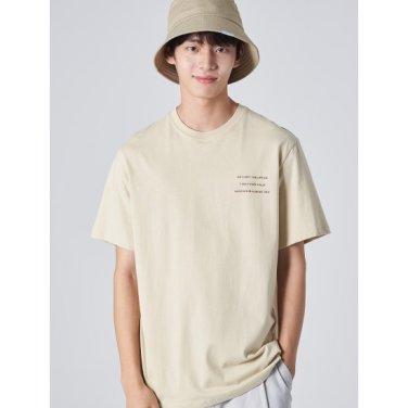 남성 베이지 백 포인트 프린팅 반소매 티셔츠 (269742EY5A)
