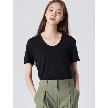 여성 블랙 베이직 슬럽 U넥 티셔츠 (329742LYT5)
