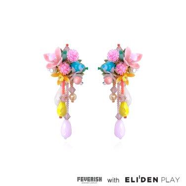 [피버리쉬] FLOWER BLAST LARGE DROP EARRINGS-MULTICOLOR (FB1E1)