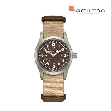 H69429901 카키 필드 메카니컬 38mm 브라운 다이얼 베이지 나토스트랩 남성시계