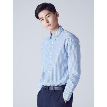 남성 블루 핀 스트라이프 코튼 셔츠 (228764TY1P)