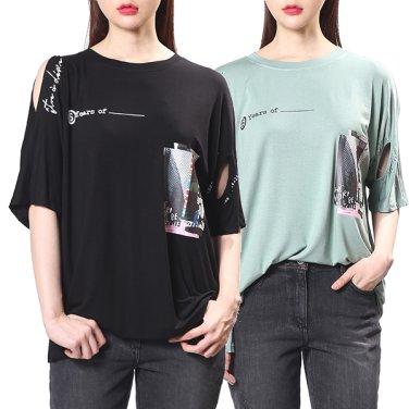 슬릿 레터링 라운드 티셔츠 2F1J4TTO010W