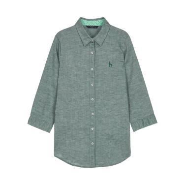 퍼피자수 린넨혼방 7부소매셔츠 HSSH9B308