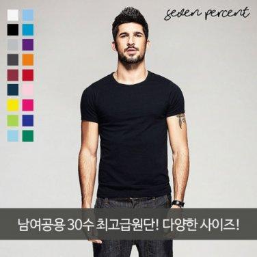 [세븐퍼센트] 남여공용 프리미엄 무지 라운드 반팔 티셔츠
