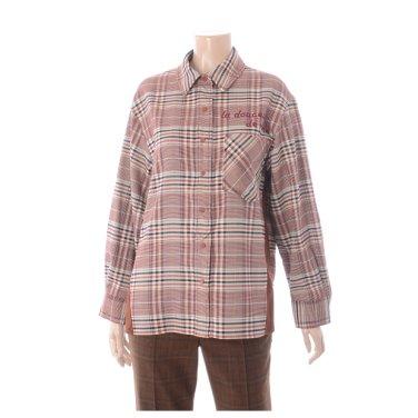 레터링 박시핏 체크 셔츠 블라우스 TWBAX2447