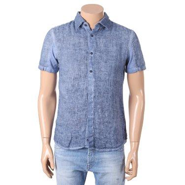 S/S 가먼트다잉 면마 배색 반소매 셔츠 65S3163