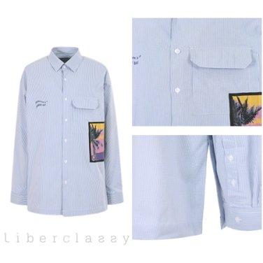 리버클래시(DJ) 블루 씨어써커 아트웍 레터링 스트라이프 롱 셔츠 LGS31430