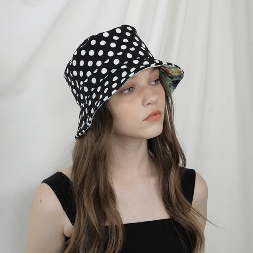 Reversible short bucket hat - Polka dot