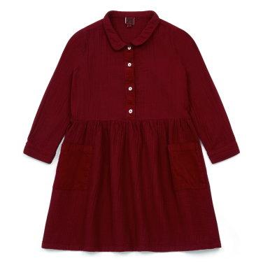 벨벳 포켓포인트 배색의 드레스