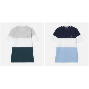 S/S 컬러 블록 에어 라운드 티셔츠(BC9342A29R_Y)