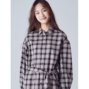여성 블랙 코튼 체크 로브형 셔츠 원피스 (118871SY25)