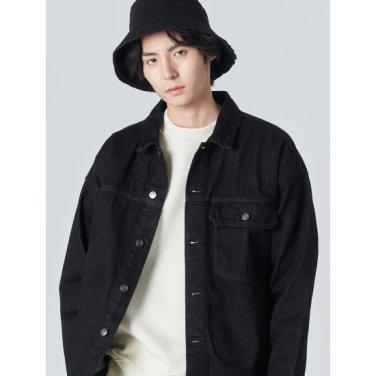 남성 블랙 코튼 데님 트러커 재킷 (420139LP35)