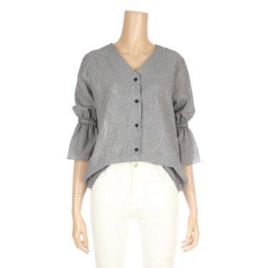 브이넥 7부 나팔소매 셔츠(K65-86423)