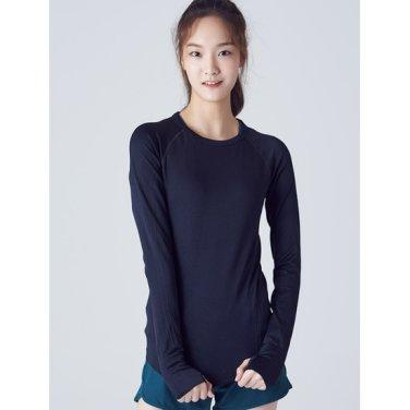 여성 [ACTIVE8] 블랙 스트레치 트레이닝 소매 고리 티셔츠 (158841SA25)