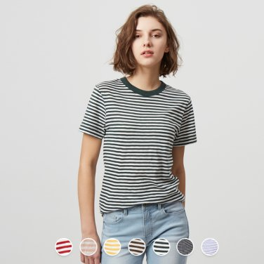 여 크루넥 반팔 티셔츠(스트라이프) 329522P