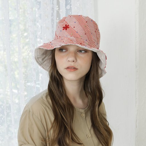Reversible bucket hat - - Taffeta red