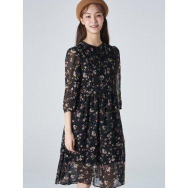 여성 블랙 플로럴 패턴 셔링 쉬폰 원피스 (329771LYA5)