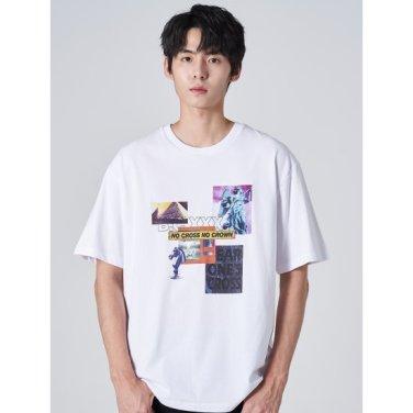남성 화이트 솔리드 코튼 그래픽 반소매 티셔츠 (269742DY31)