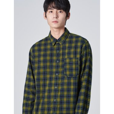 남성 카키 타탄체크 플란넬 포켓 셔츠 (429764DYAH)
