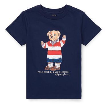 폴로 랄프 로렌 칠드런 럭비 베어 코튼 티셔츠(CWPOTSHBN810194B82)