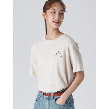 여성 베이지 싱글 레터링 포인트 티셔츠 (169742KY1A)