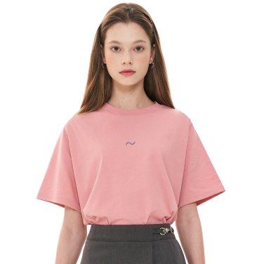 (CTC1) 웨이브 아이콘 자수 티셔츠 핑크