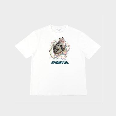 민화 호랑이 티셔츠 - WHITE