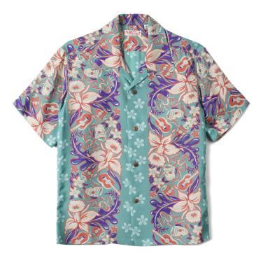 SUN SURF Rayon Hawaiian Shirt Orchid And Hawaiian Tradition Green