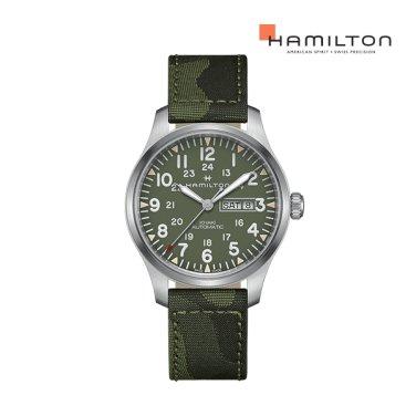 H70535061 카키 필드 데이 데이트 오토 42mm 그린 다이얼 남성 시계