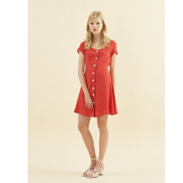 [살롱드욘] Floral Square Neck Dress_ Red(19SYOHN14E)