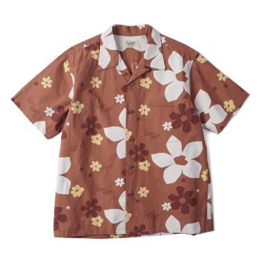 SUN SURF awaiian Shirt Abstract Flower Brown
