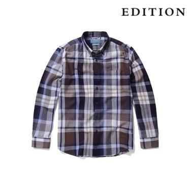히든버튼 린넨 혼방 빅체크 패턴 셔츠 (NEZ3WC1635)