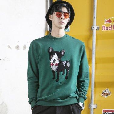 아키클래식 DOG 맨투맨 티셔츠(BULLDOG)그린