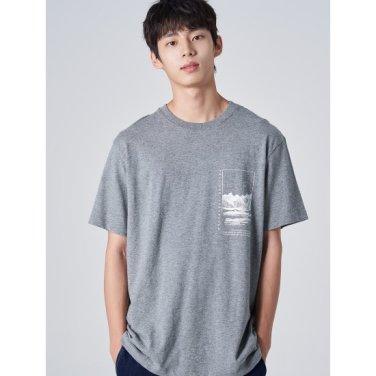 남성 그레이 그래픽 프린팅 반소매 티셔츠 (269742EY13)