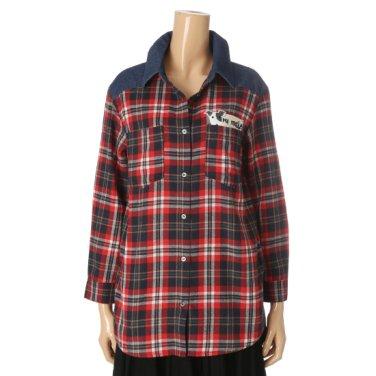 데님 체크믹스 셔츠 (SV8LS8A-OK)
