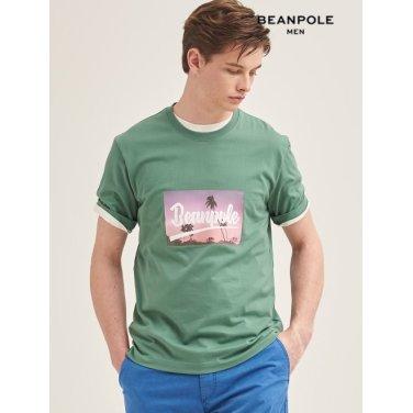 S/S 그린 포토 프린트 반소매 티셔츠(BC9442C22M)