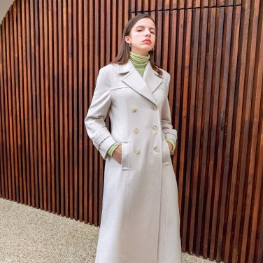 Cassimere Double Long Vent Button Coat Ivory(2019FCT320_01)