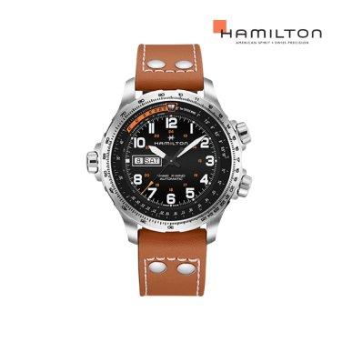 H77755533 카키 엑스윈드 데이데이트 블랙 가죽 남성 시계