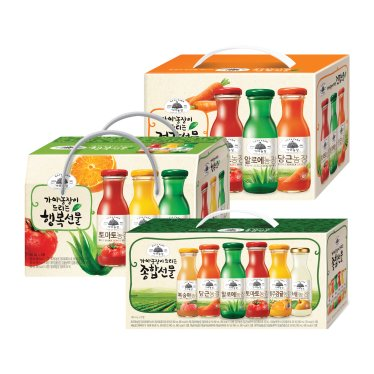 웅진 가야농장 종합음료 선물세트 모음 180mlx12병(종합/행복/건강)