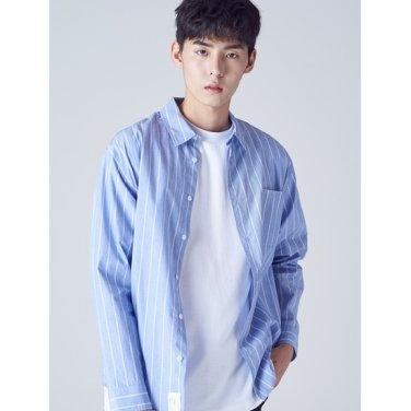 남성 블루 베이직 스트라이프 셔츠 (268864TY3P)