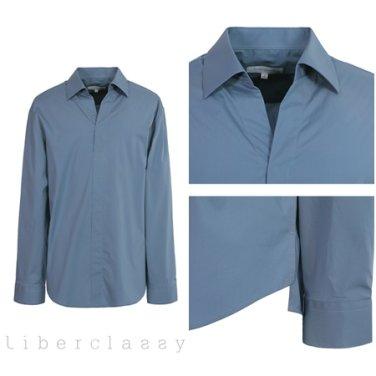 리버클래시(DJ) 블루 면소재 브이넥 튜닉형 셔츠 LGS31424