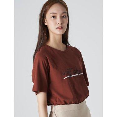 여성 브릭 코튼 배색 레터링 반소매 티셔츠 (329742LYNC)
