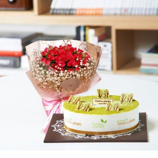 뚜레쥬르 녹차케익2호+장미꽃다발