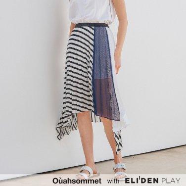 [우아솜메] Ouahsommet Stripe Pleated Skirt_WH (OBFSK004A)