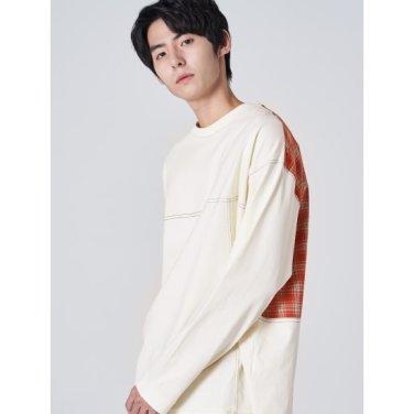 남성 아이보리 솔리드 백 포인트 타탄체크 티셔츠 (269741FY30)