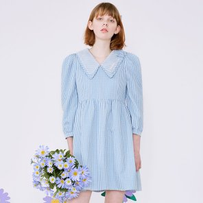 (OP-20111) CHECK PUFF-SLEEVE ONE-PIECE BLUE