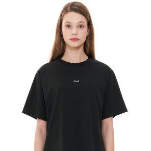 (CTC1) 웨이브 아이콘 자수 티셔츠 블랙